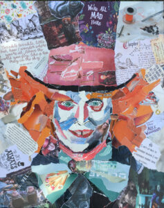 Mad Hatter- €495,- / collage op canvas 40 x 50