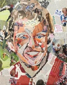 Afscheid van een legende - Verkocht / Collage op doek 40 x 50