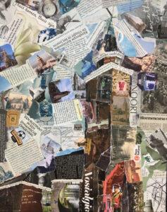 Toren van Rijnsburg - In opdracht / Collage op canvas 40 x 50