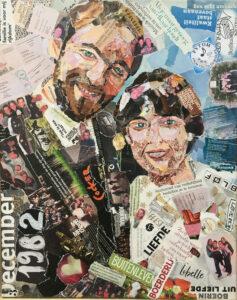 35 jaar getrouwd - In opdracht / Collage op canvas (40 x 50)