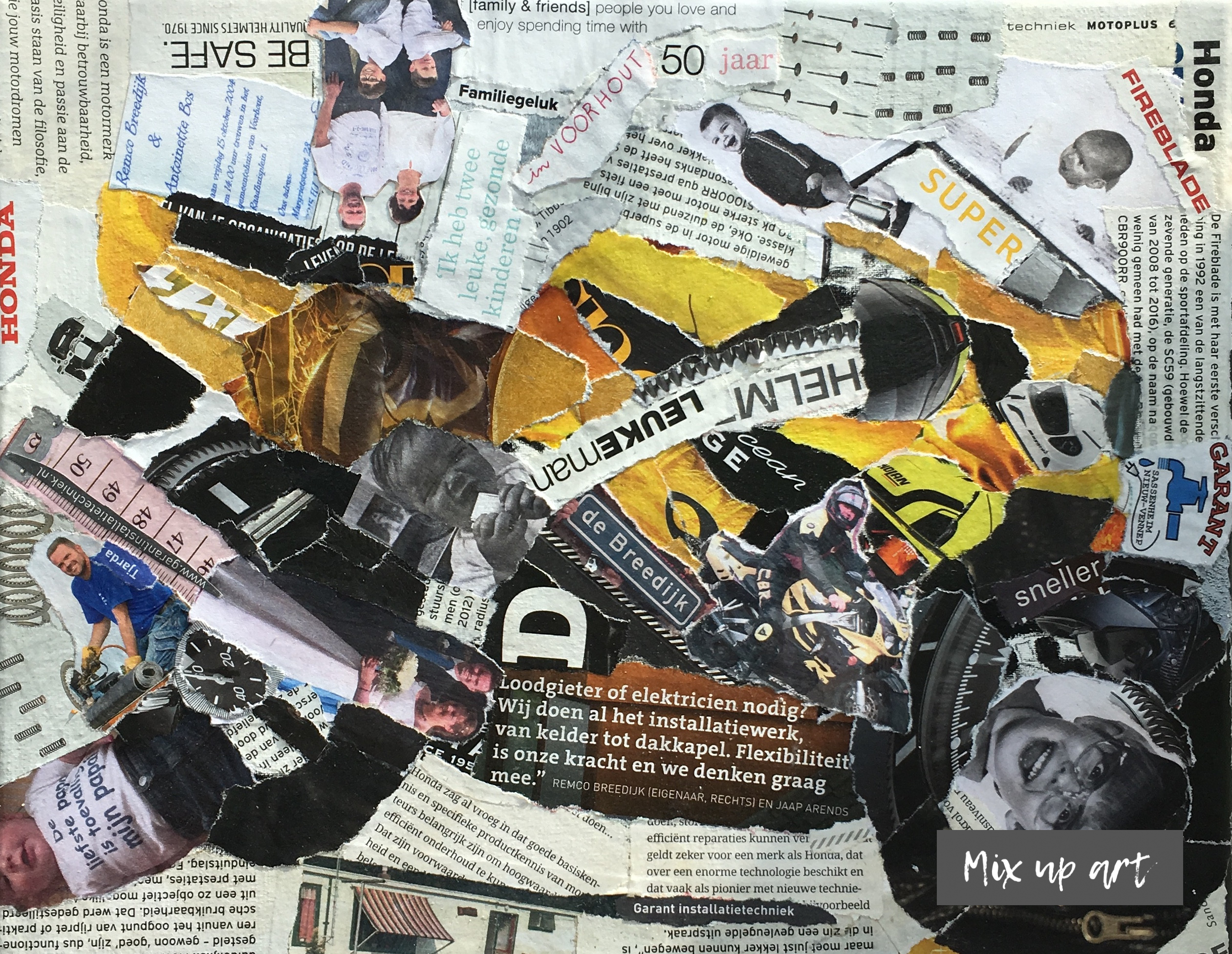 Honda fireblade 900 - In opdracht / collage op 3D canvas (24 x 30)
