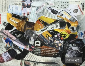 Honda fireblade 900 - In opdracht / collage op canvas 23 x 30