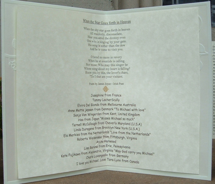 The lovely Irish poem + a few fan-mily donor names