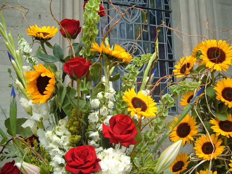 More Lilies, Roses and Sunflowers in Bouquet #3
