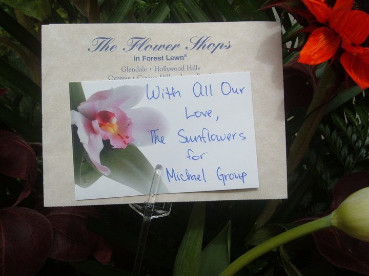 Our Card Accompanying the Flowers