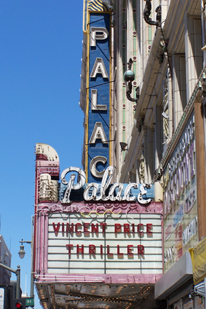 """Owners of The Palace Theatre at 630 S. Broadway near the Los Angeles Fashion District paid respect to Michael Jackson by re-creating its marquee as it was in 1983 during filming of Jackson's """"Thriller"""" video."""