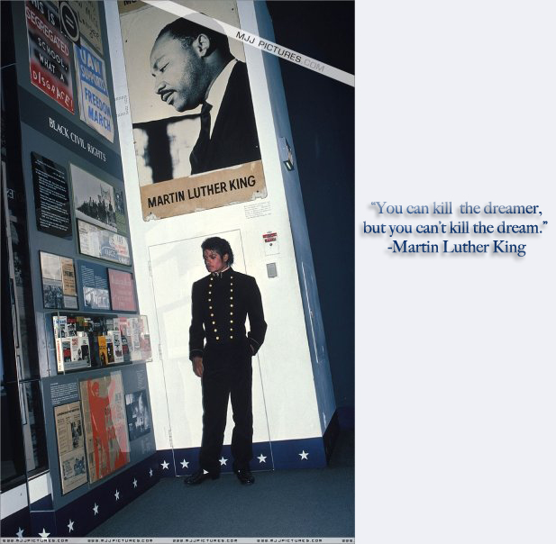 Michael stands beneath MLK