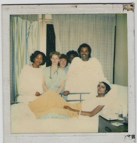 Michael, Nurse Kathy McGraw along with other medical personnel at Brotman Burn Center