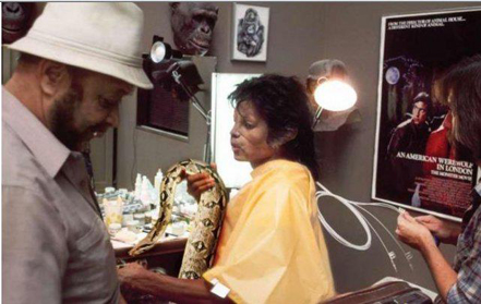 Michael on the set of 'Thriller' with Muscles and Bill Bray