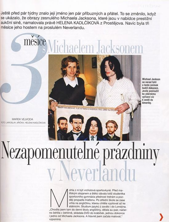 Newspaper article about Helena's stay at Neverland (in Czech)