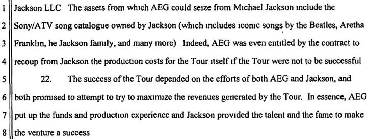 Also from Jackson's wrongful death suit against AEG - stating that they would recoup their costs by taking Michael's catalogue