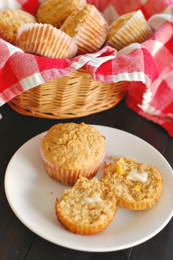 Delicious 100% whole grain corn muffins are fast and easy comfort food that make your meal extra special. | mjbakesalot.com