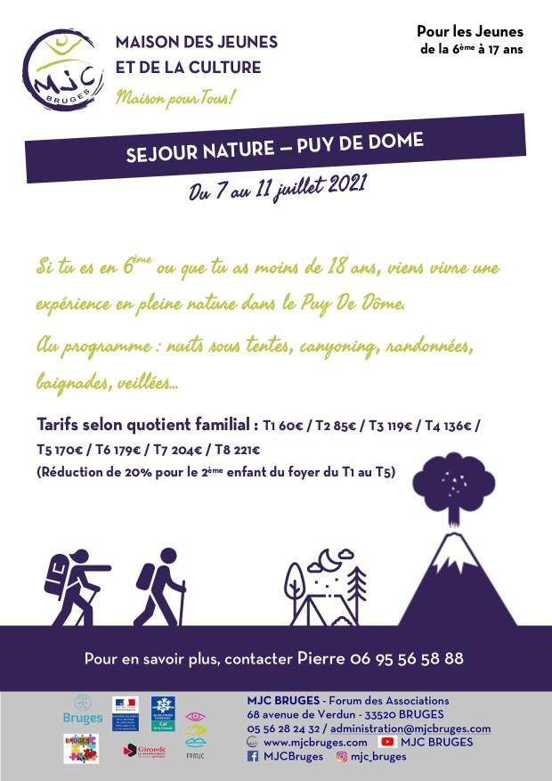 Séjour été 2021 Puy de Dôme