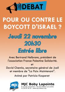 Débat : Pour ou contre le boycott d'Israël? @ Salle Boby Lapointe
