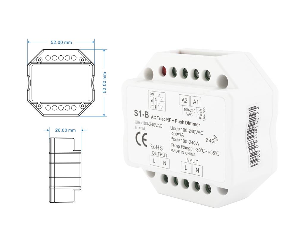 S1 B Ac Triac Led Dimmer 220v 230v 110v 120v Rf Wireless