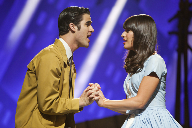 "GLEE: Rachel (Lea Michele, R) and Blaine (Darren Criss, L) perform in West Side Story in ""The First Time"" episode of GLEE airing Tuesday, Nov. 8 (8:00-9:00 PM ET/PT) on FOX. ©2011 Fox Broadcasting Co. Cr: Adam Rose/FOX"
