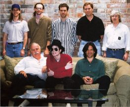 Michael with recording engineers during the HIStory sessions