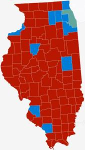 "This electoral results map of Illinois, copied from Politico, is typical of ""blue"" states taken by Clinton:  a few patches of ""blue"" in the populous areas within a sea of mostly red."