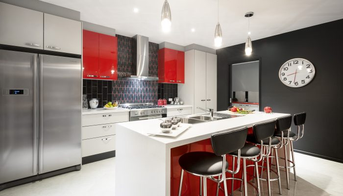 Red new kitchen built in retro style