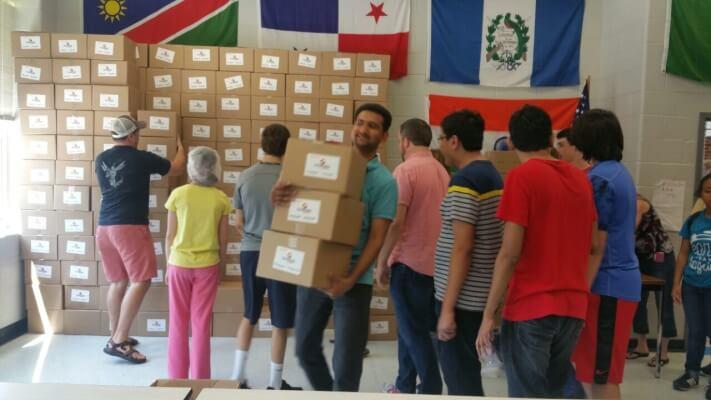 transferring food to the needy