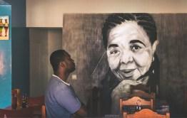 Fresque de Cesária Évora dans un restaurant sur l'Île de Sal