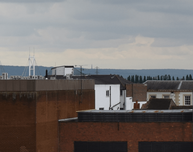 Nikkor 18-55mm Stokenchurch BT Tower from Aylesbury Telephone Exchange, 35mm, cropped