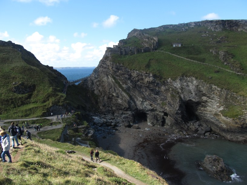 Tintagel Castle with destroyed isthmus.