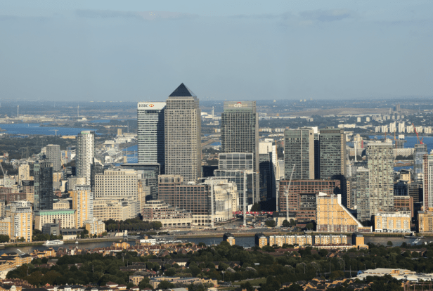 Canary Wharf seen from The Shard.