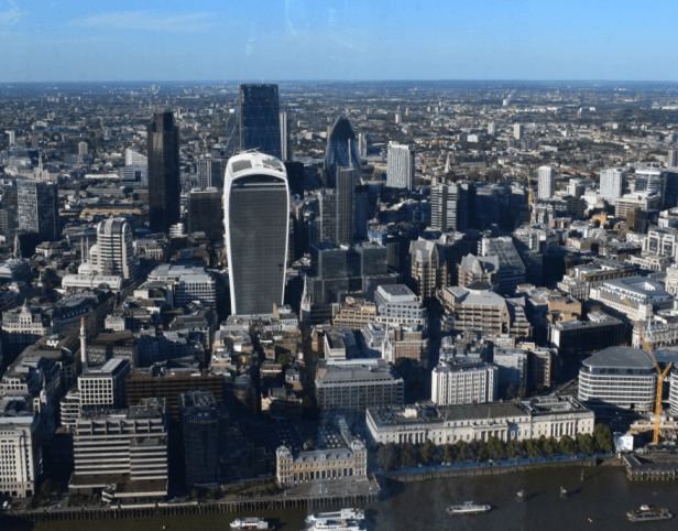 Greater London north bank skyline seen from The Shard