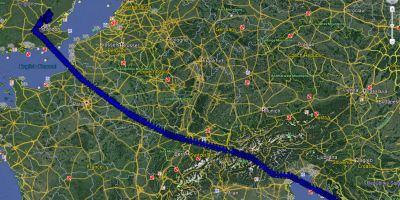 Ryanair flight route Google Earth from Zadar to London