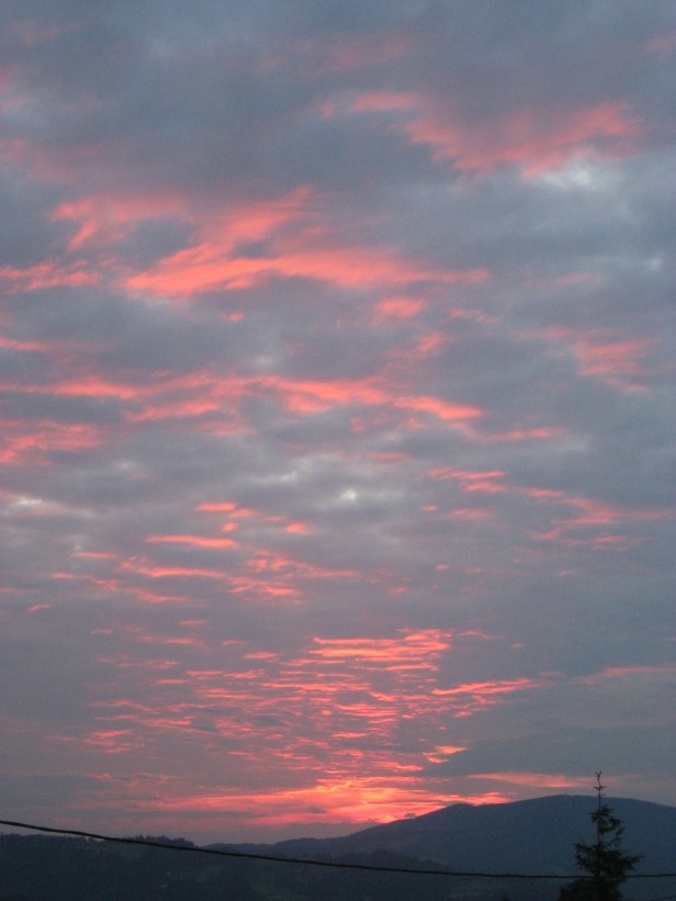 Sunset and light reflection on stratocumulus cloud