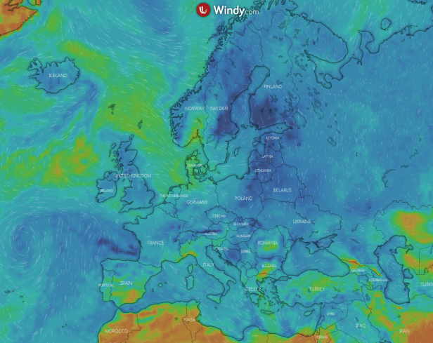 Windy interactive weather forecast Europe
