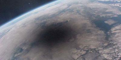 Total solar eclipse 1999 Lunar shadow seen from Mir
