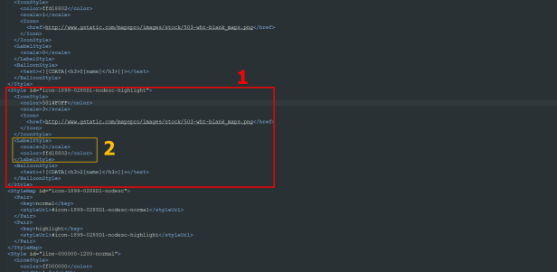 KML hover placemark XML