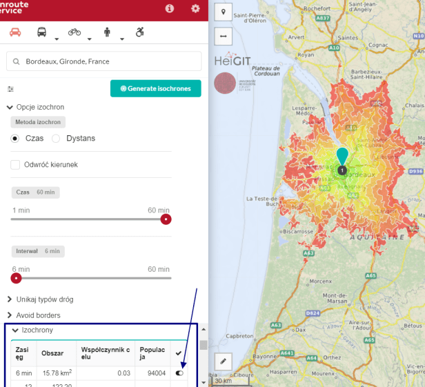 OpenRouteServices Isochrone Map choice