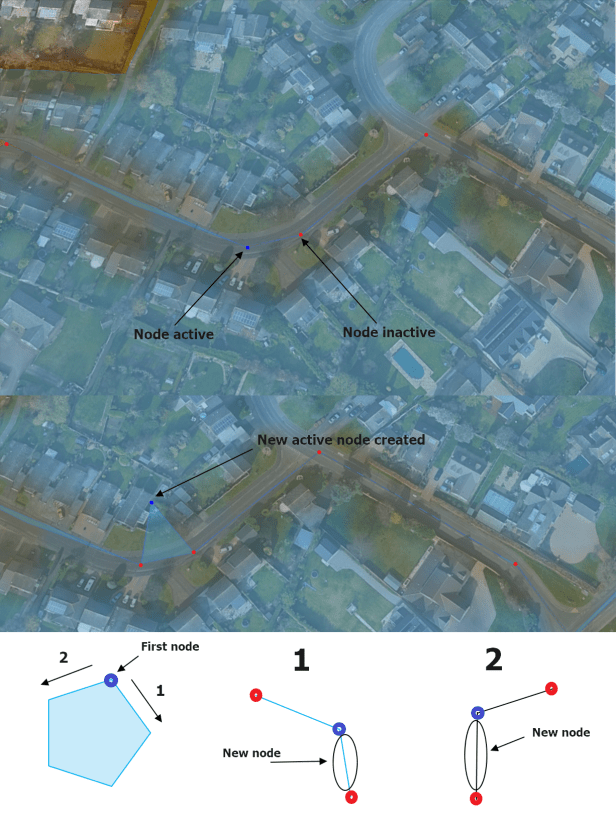 New node input in the Google Earth polygon