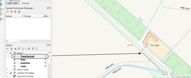 Transformed layer in QGIS