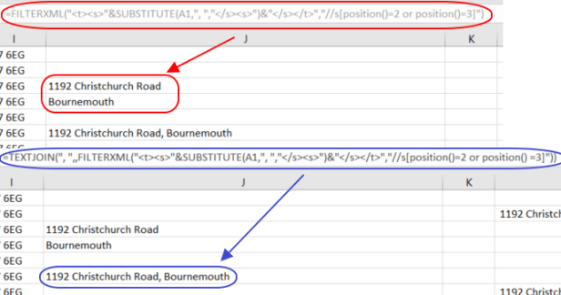 Excel FILTERXML and TEXTJOIN function