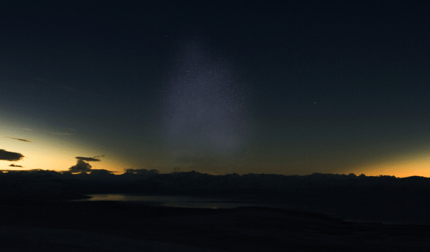 Solar eclipse below the horizon and zodiacal light wisualization