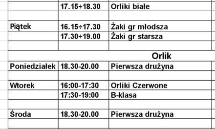 Plan treningów w dniach 08 – 12 marca br.