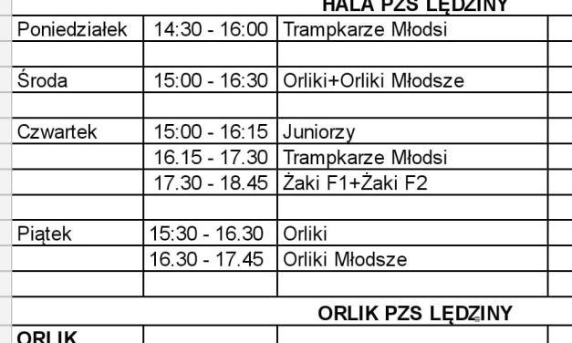 Harmonogram treningów w dniach 30.11. – 04.12.2020 r.