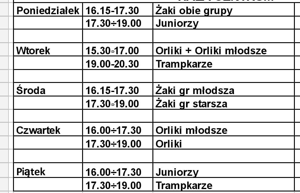 Od 18 stycznia ruszają treningi młodzieży!
