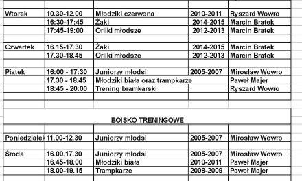 Treningi w dniach od 30 sierpnia do 3 września