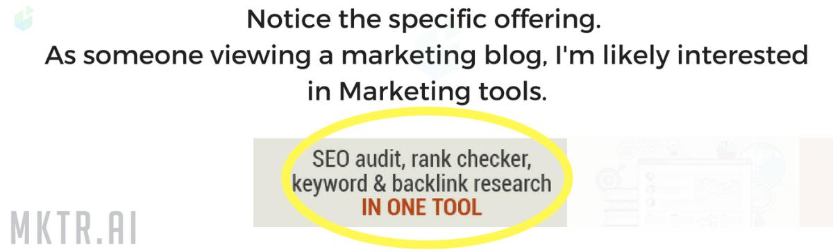 Targeted marketing example showing behavioral segmentation