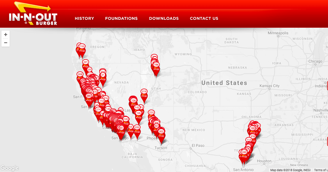 In-n-out burger is an example of a company that uses geographic segmentation to reach their target audience