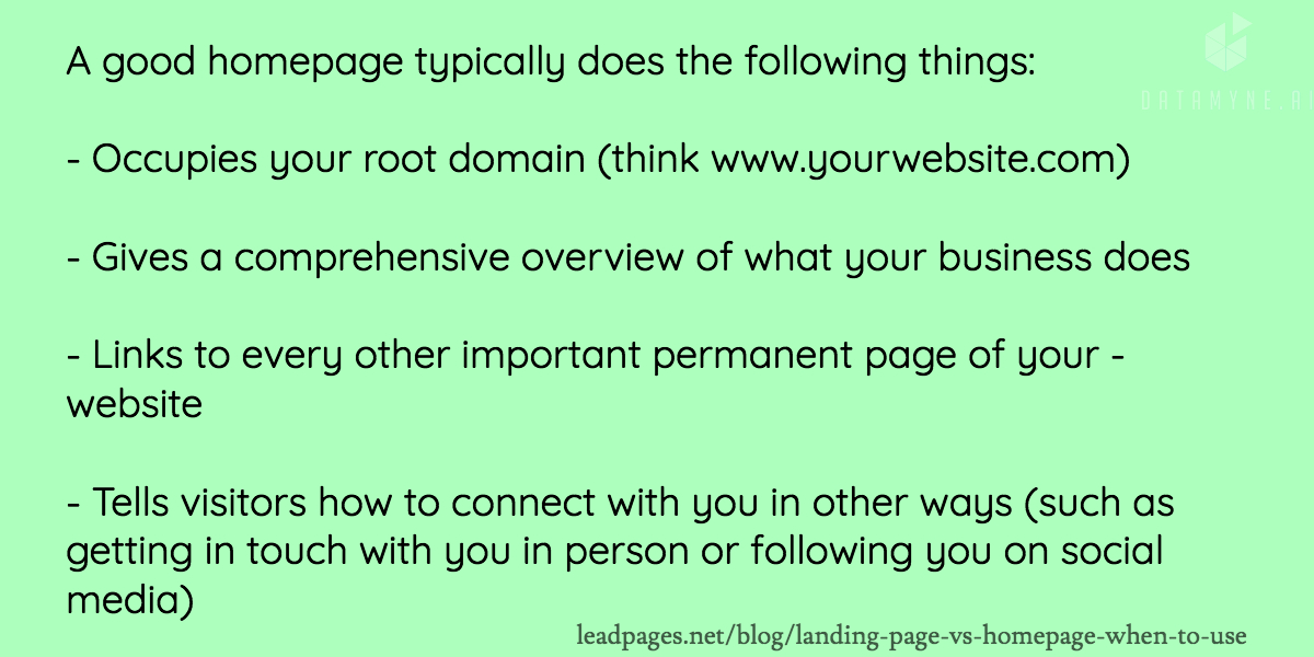 What makes a good homepage for a growing business