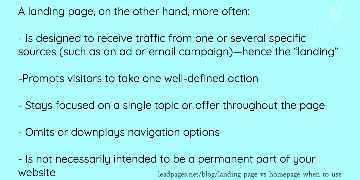 What are the most important pieces of a landing page?