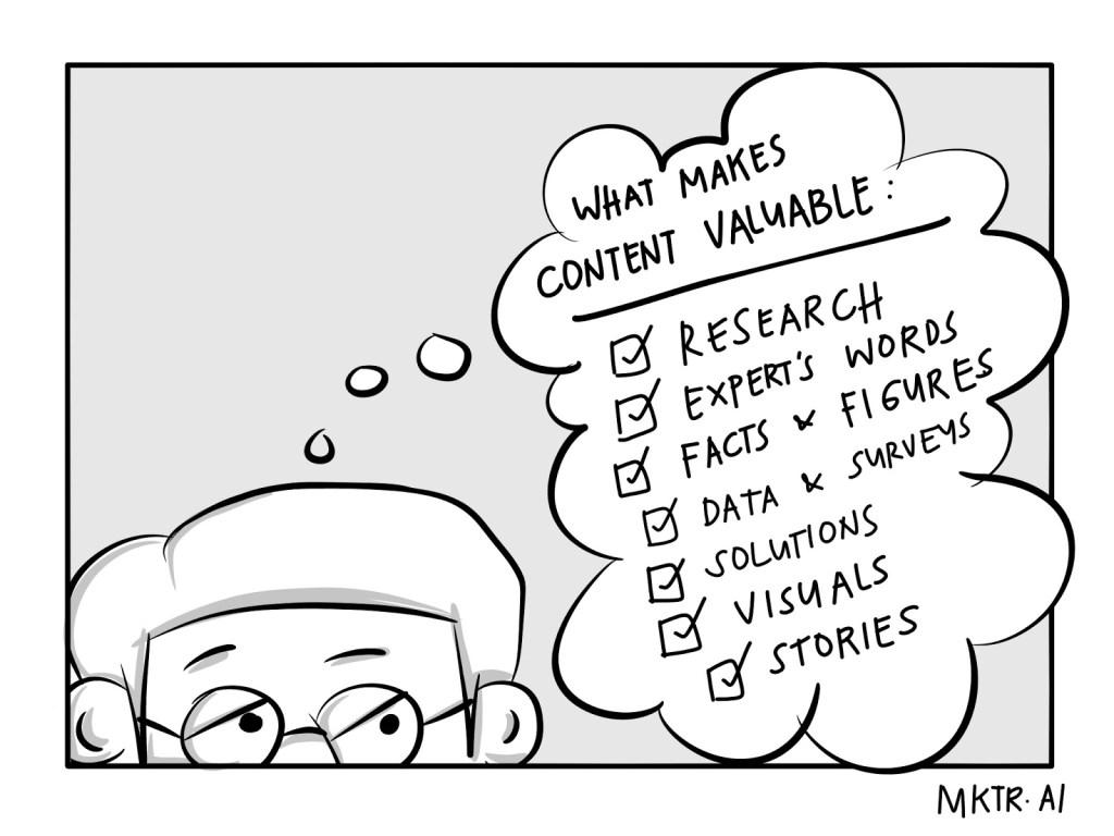 content marketing checklist cartoon illustration