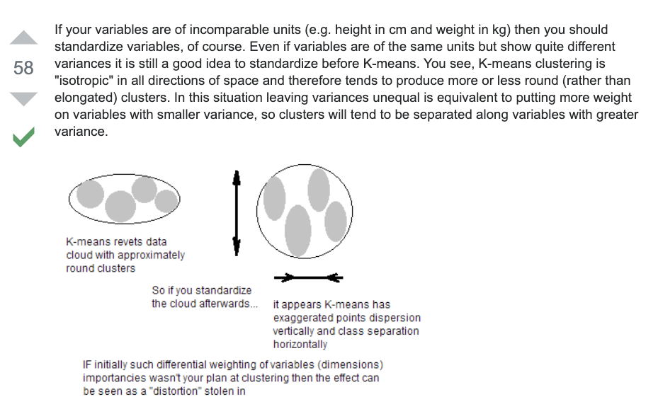 "If your variables are of incomparable units (e.g. height in cm and weight in kg) then you should standardize variables, of course. Even if variables are of the same units but show quite different variances it is still a good idea to standardize before K-means. You see, K-means clustering is ""isotropic"" in all directions of space and therefore tends to produce more or less round (rather than elongated) clusters. In this situation leaving variances unequal is equivalent to putting more weight on variables with smaller variance, so clusters will tend to be separated along variables with greater variance.enter image description hereA different thing also worth to remind is that K-means clustering results are potentially sensitive to the order of objects in the data set1. A justified practice would be to run the analysis several times, randomizing objects order; then average the cluster centres of those runs and input the centres as initial ones for one final run of the analysis.Here is some general reasoning about the issue of standardizing features in cluster or other multivariate analysis.1 Specifically, (1) some methods of centers initialization are sensitive to case order; (2) even when the initialization method isn't sensitive, results might depend sometimes on the order the initial centers are introduced to the program by (in particular, when there are tied, equal distances within data); (3) so-called running means version of k-means algorithm is naturally sensitive to case order (in this version - which is not often used apart from maybe online clustering - recalculation of centroids take place after each individual case is reasssigned to another cluster)."