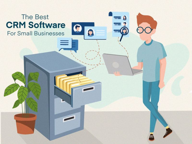 "article cover image illustration for the article: ""The best CRM software for small businesses"" by MKTR.AI"